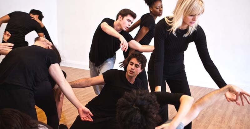 students in the acting program at Maggie Flanigan Studio working in the movement class for actors
