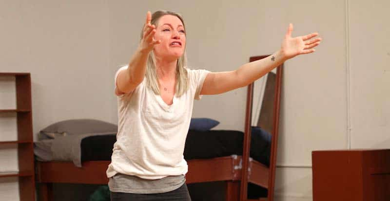 student in class during meisner exercises at acting studio in new york ny