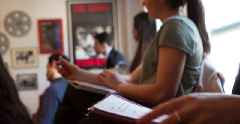students taking notes during the business preparation class for actors new york ny - (917) 789-1599