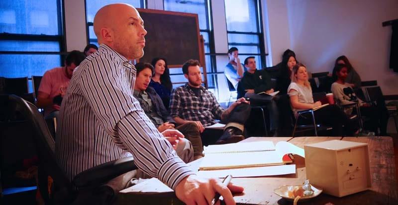 charlie sandlan teaching in the acting 1 class at maggie flanigan studio
