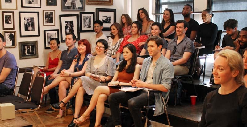 students sit in class during the meisner summer intensive at maggie flanigan studio