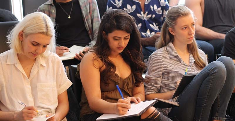 students taking notes during the moister summer intensive in new york at the maggie flanigan studio
