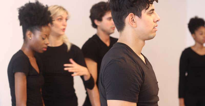 students in the movement class for actors at the maggie flanigan studio practicing exercises