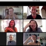 acting students participating in an online acting class with Maggie Flanigan Studio